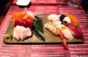 surtido de nigiri y sashimi