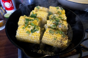 sweetcorn in the griddle pan