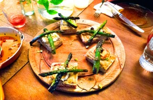 asparagus, goat's cheese and pistachio focaccia