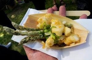 cod and asparagus tempura