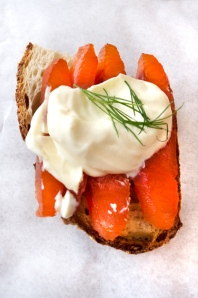smoked salmon, sour cream and dill