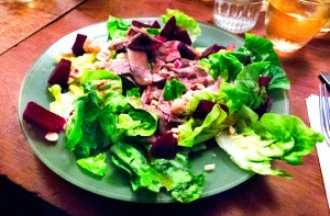 tongue and beetroot salad