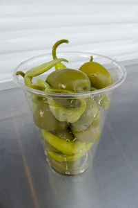 basque chillis and olives