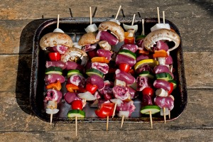 chicken heart kebabs
